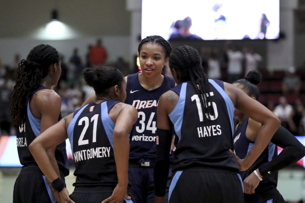 Atlanta Dream center Imani McGee-Stafford (34) is also a published poet. (Gregory Payan/AP)