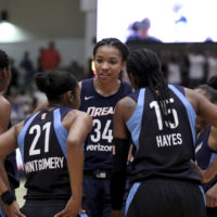 Atlanta Dream center Imani McGee-Stafford (34) is also a published poet. (AP Photo/Gregory Payan)