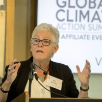 Gina McCarthy, Director of the Change for Climate, Health and the Global Environment at Harvard University, gives the keynote speech at Science to Action Day, an affiliate event of the Global Climate Action Summit on Tuesday, Sept. 11, 2018, in San Francisco. (Peter Barreras/AP)