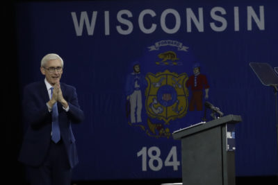 Then-Democratic candidate for Wisconsin governor Tony Evers speaks at a rally Friday, Oct. 26, 2018, in Milwaukee. (Morry Gash/AP)