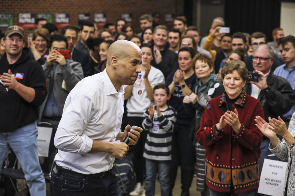 New Jersey Democratic Sen. Cory Booker exits the stage after speaking at a get out the vote event hosted by the NH Young Democrats  at the University of New Hampshire in Durham, N.H. Sunday, Oct. 28, 2018. (Cheryl Senter/AP)