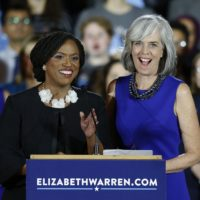 Congresswoman-elect Ayanna Pressley, D-Mass., left, stands with U.S. Rep. Katherine Clark, D-Mass., during an election night watch party in Boston, Tuesday, Nov. 6, 2018. (AP Photo/Michael Dwyer)