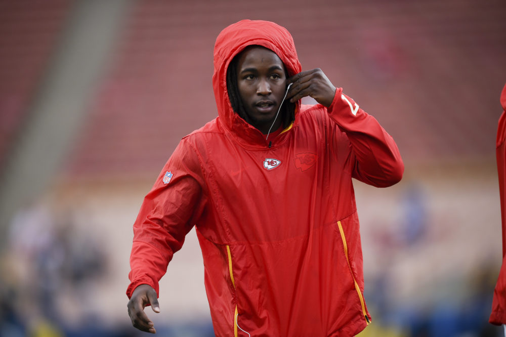 Kansas City Chiefs running back Kareem Hunt warms up before an NFL football game against the Los Angeles Rams Monday, Nov. 19, 2018, in Los Angeles. (AP Photo/Kelvin Kuo)