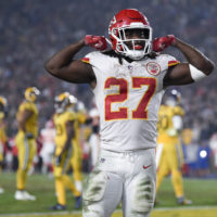 Kansas City Chiefs running back Kareem Hunt reacts to a play during the second half of an NFL football game against the Los Angeles Rams, Monday, Nov. 19, 2018, in Los Angeles. (Kelvin Kuo/AP)
