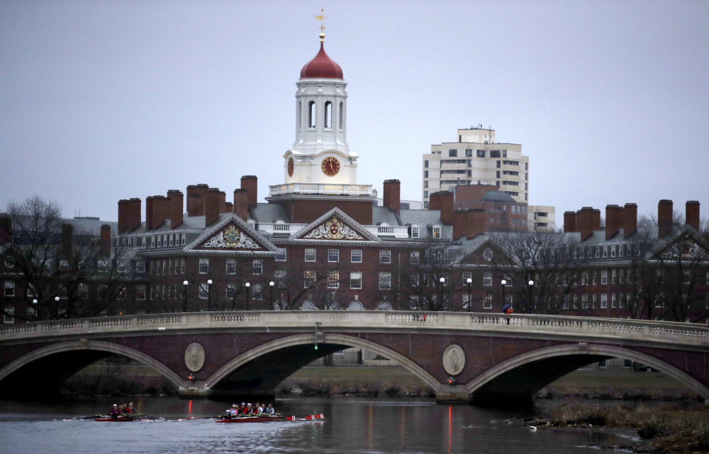 Rowers paddle down the Charles River past the campus of Harvard University in Cambridge, Mass. (Charles Krupa/AP)