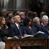 From left, President Donald Trump, first lady Melania Trump, former President Barack Obama, Michelle Obama, former President Bill Clinton and former Secretary of State Hillary Clinton listen during a State Funeral at the National Cathedral, Wednesday, Dec. 5, 2018, in Washington, for former President George H.W. Bush. (Alex Brandon, Pool/AP)