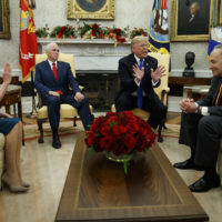 House Minority Leader Rep. Nancy Pelosi, D-Calif., Vice President Mike Pence, President Donald Trump, and Senate Minority Leader Chuck Schumer, D-N.Y., argue during a meeting in the Oval Office of the White House, Tuesday, Dec. 11, 2018, in Washington. (Evan Vucci/AP)