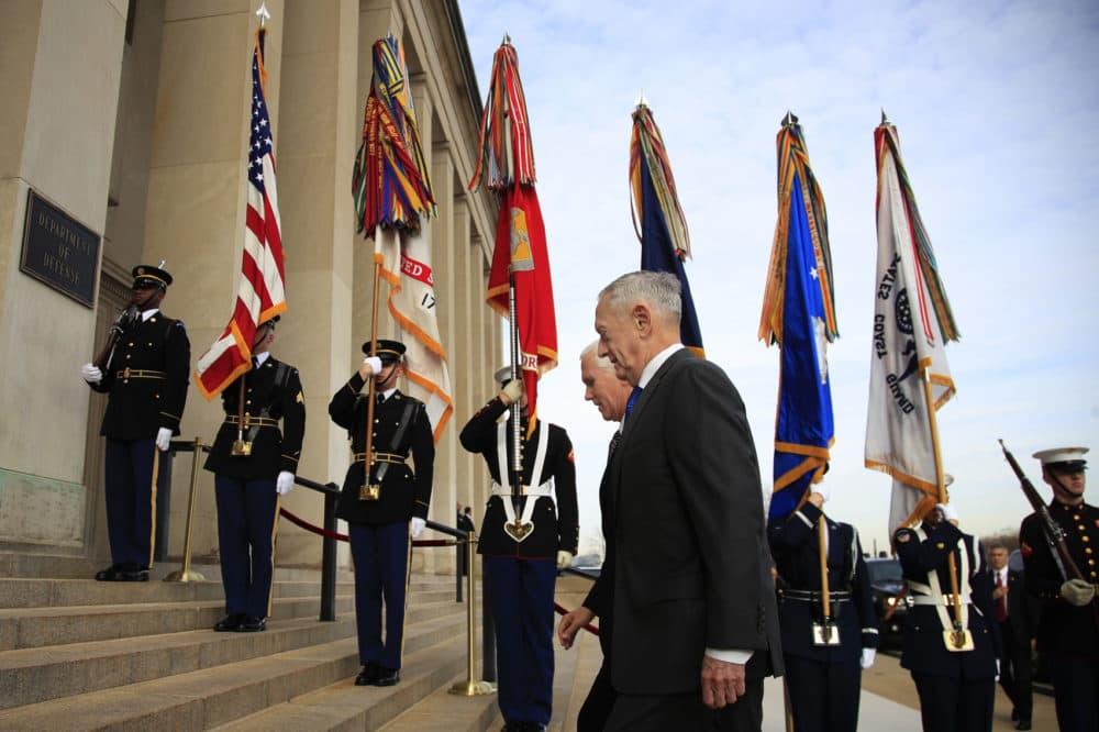 Defense Secretary Jim Mattis welcomes Vice President Mike Pence to the Pentagon, Wednesday, Dec. 19, 2018. (Manuel Balce Ceneta/AP)