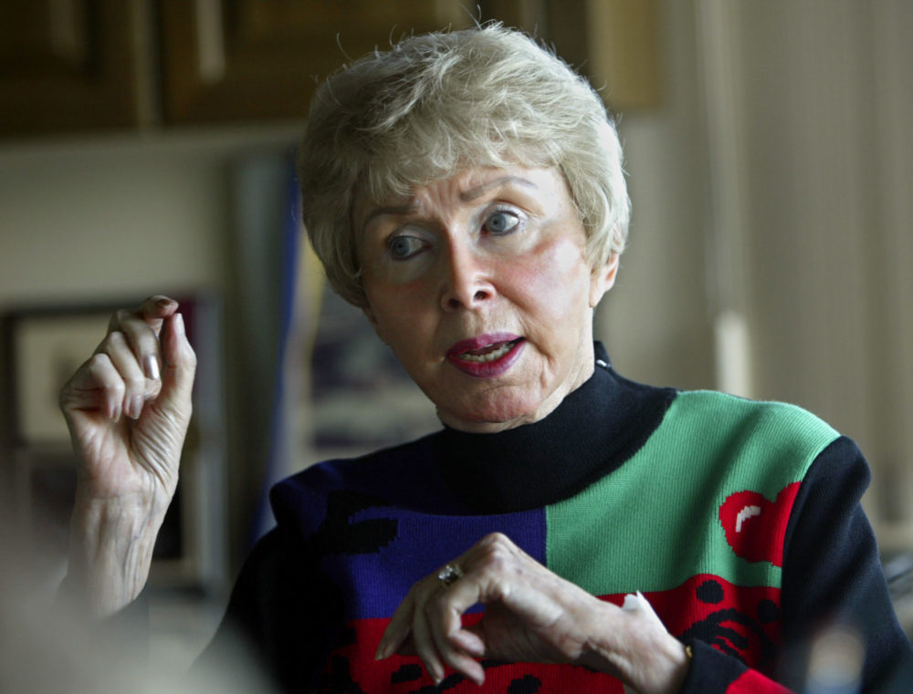Audrey Geisel, widow of Dr. Seuss creator Theodor Geisel, died peacefully at her California home on Wednesday, Dec. 19, 2018, at age 97. In this Feb. 4, 2004 file photo, she appears during an interview at her home in the La Jolla area of San Diego. (AP Photo/Lenny Ignelzi, File)