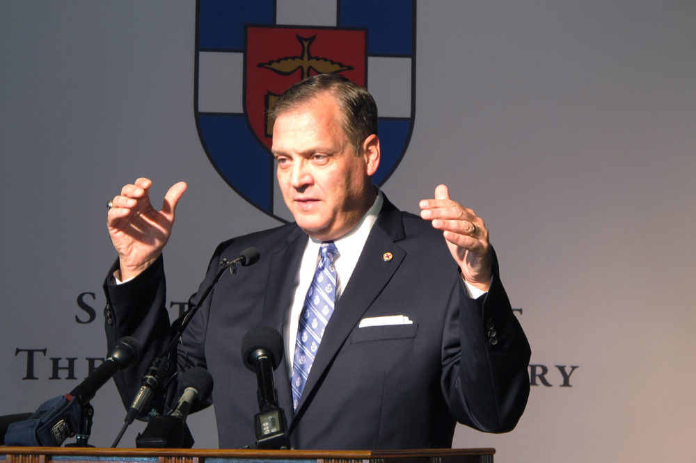 The Rev. R. Albert Mohler Jr., president of Southern Baptist Theological Seminary, speaks to reporters on Monday, Oct. 5, 2015. (Bruce Schreiner/AP)