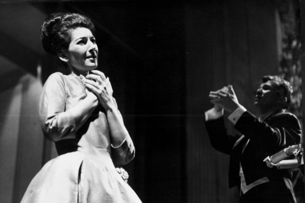 Soprano Maria Callas sings at the Theater de Champs Elysees in Paris, France, under the direction of Maestro Georges Pretre, June 5, 1963. (Jean-Jacques Levy/AP)