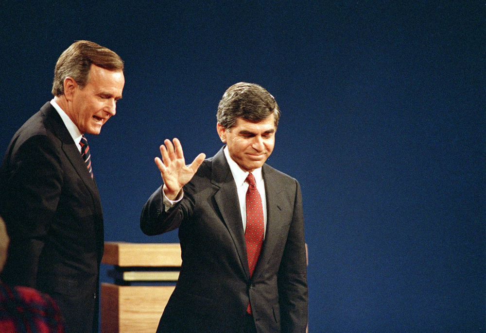 Michael Dukakis and George H.W. Bush at their final presidential debate in October 1988. (Lennox McLendon/AP)