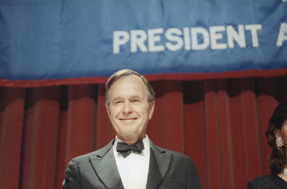 "President  George H.W. Bush smiles after he was introduced at the New York State Republican dinner on June 22, 1989 at the Waldorf-Austria Hotel in New York. Bush said in a speech at the dinner that New York  ""voters are shifting from automatic loyalty to the other party and voting Republican more and more often.""  (Rick Bowmer/AP)"
