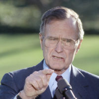 U.S. President George H. Bush makes a statement at the White House, Friday, Dec. 14, 1990. (Barry Thumma/AP)