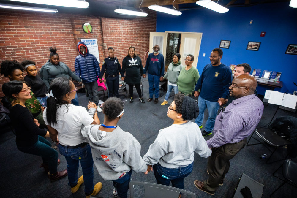 """Code Listen"" members rehearse at the Center for Teen Empowerment. (Courtesy Celebrity Series)"