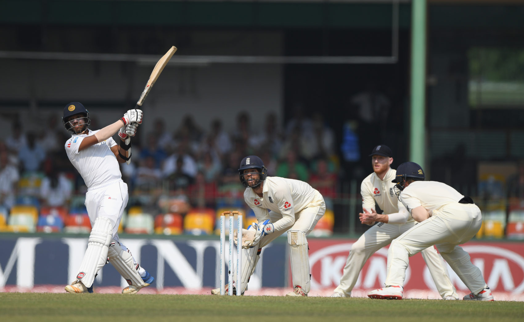 The Sri Lankan national cricket team bats against England at a match in Sri Lanka. (Stu Forster/Getty Images)