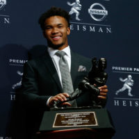 Oklahoma's Kyler Murray won the 2018 Heisman trophy over Alabama's Tua Tagovailoa and Ohio State's Dwayne Haskins. (Mike Stobe/Getty Images)