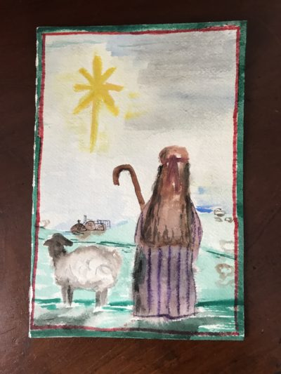 As a sixth grader, the author took a watercolor painting class where she created this holiday card with a scene of a wondering, wandering shepherd. Circa 1985. (Courtesy)