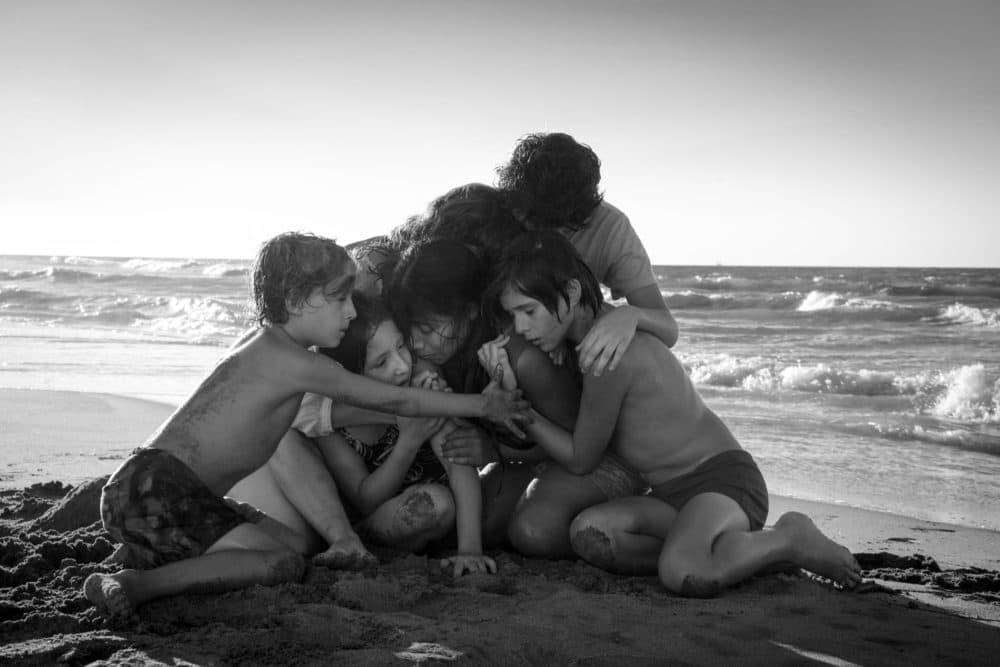 "Marco Graf as Pepe, Daniela Demesa as Sofi, Yalitza Aparicio as Cleo, Marina De Tavira as Sofia, Diego Cortina Autrey as Toño, Carlos Peralta Jacobson as Paco in ""Roma."" (Courtesy Carlos Somonte/Netflix)"