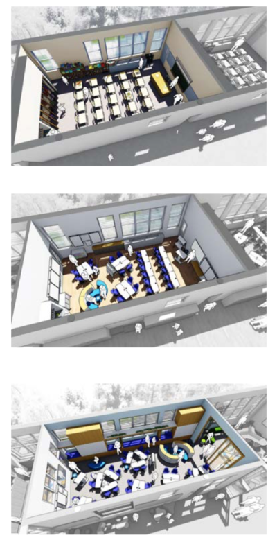 An artist's rendering comparing 20th and 21st-century classrooms from the BuildBPS report.