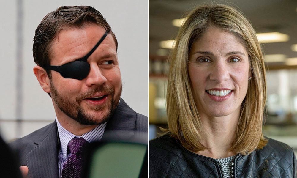Texas U.S. Rep. Dan Crenshaw and Massachusetts U.S. Rep. Lori Trahan (AP/WBUR)