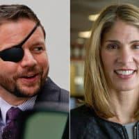 Texas U.S. Rep. Dan Crenshaw and Massachusetts U.S. Rep. Lori Trahan (AP/WBUR)