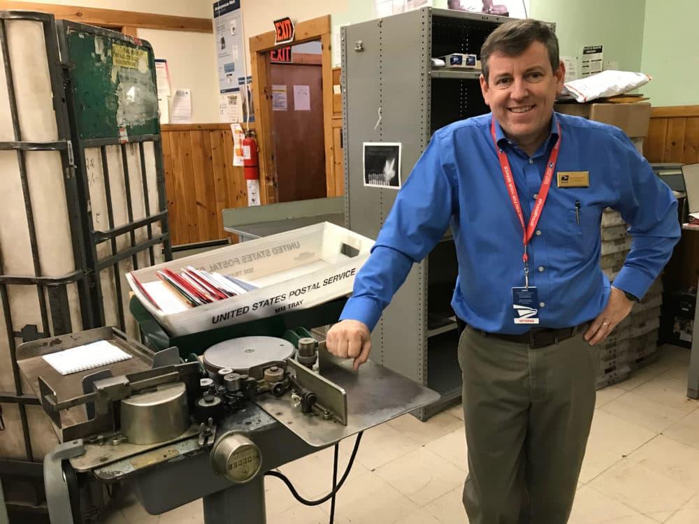 Brian Thompson, postmaster for the bustling post office in the little town of Bethlehem, New Hampshire. (Lisa Mullins/WBUR)