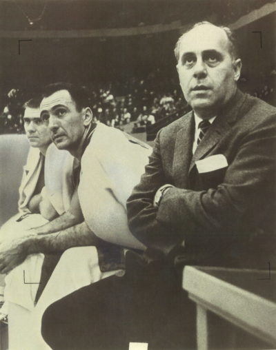 Red Auerbach (right) coached the Celtics from 1950–66. (Courtesy Fortier Public Relations)