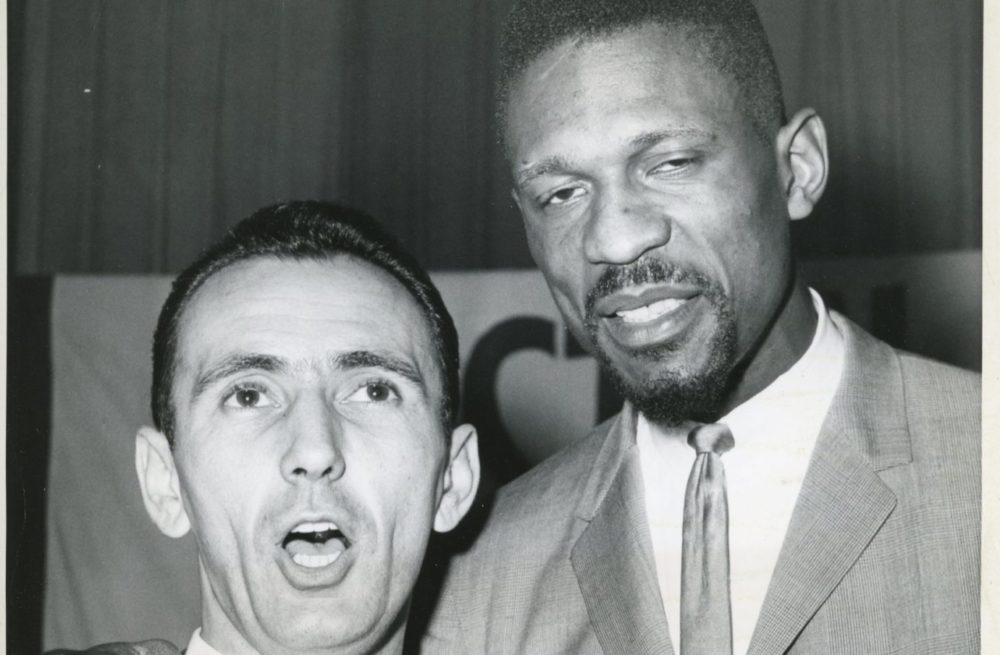 Bob Cousy and Bill Russell won six championships in seven years as teammates. (Courtesy Fortier Public Relations)