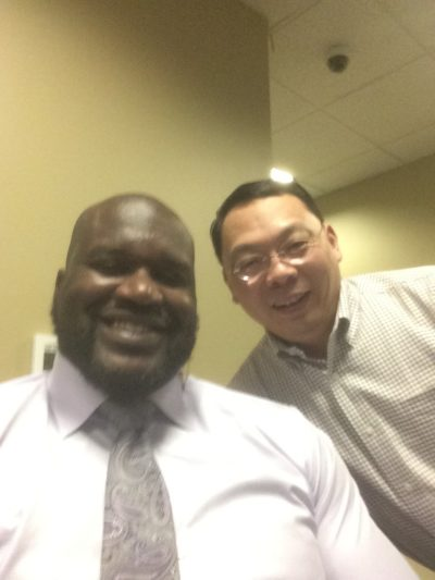 Lin Wang and Shaquille O'Neal (Courtesy Shirley Wang)