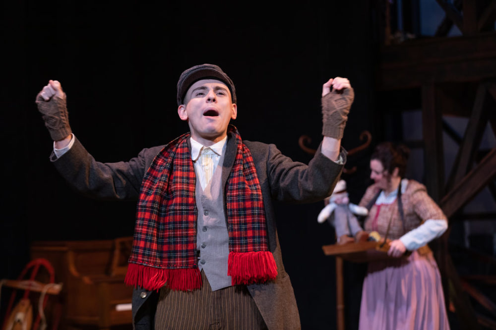 "John Pagliarulo and Bridgette Hayes in Greater Boston Stage Company's ""Tiny Tim's Christmas Carol"" (Courtesy Greater Boston Stage Company)"