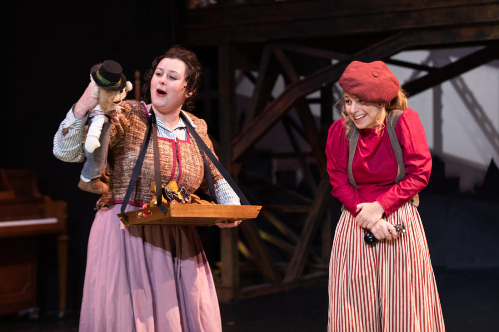 "Bridgette Hayes and Antonia Turilli in Greater Boston Stage Company's ""Tiny Tim's Christmas Carol"" (Courtesy Greater Boston Stage Company)"