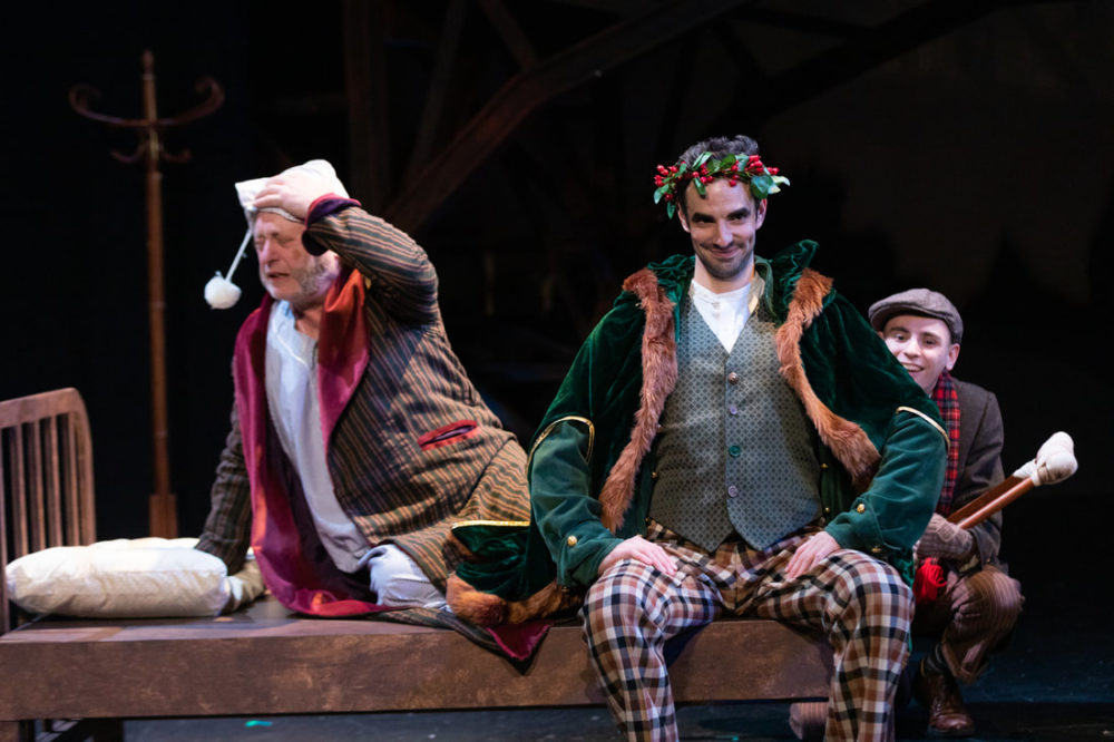 "Steven Barkhimer, Paul Melendy and John Pagliarulo in Greater Boston Stage Company's ""Tiny Tim's Christmas Carol"" (Courtesy Greater Boston Stage Company)"