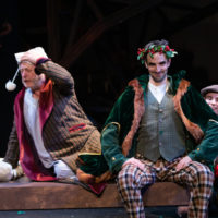 """Steven Barkhimer, Paul Melendy and John Pagliarulo in Greater Boston Stage Company's """"Tiny Tim's Christmas Carol."""" (Courtesy Greater Boston Stage Company's """"Tiny Tim's Christmas Carol"""")"""