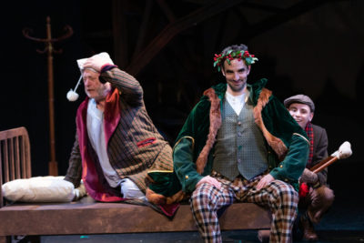 "Steven Barkhimer, Paul Melendy and John Pagliarulo in Greater Boston Stage Company's ""Tiny Tim's Christmas Carol."" (Courtesy Greater Boston Stage Company's ""Tiny Tim's Christmas Carol"")"