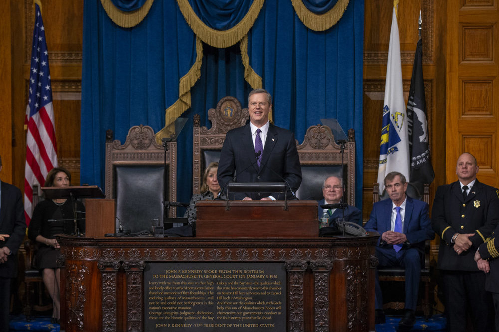Gov. Charlie Baker delivers his inaugural address after being sworn in for his second term. (Jesse Costa/WBUR)