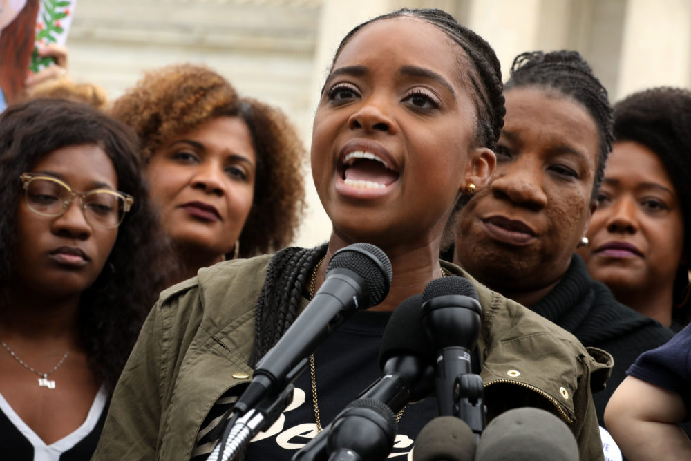Women's March co-president Tamika Mallory addresses a rally against the confirmation of Supreme Court nominee Judge Brett Kavanaugh in front of the court on Sept. 24, 2018 in Washington, D.C. (Chip Somodevilla/Getty Images)