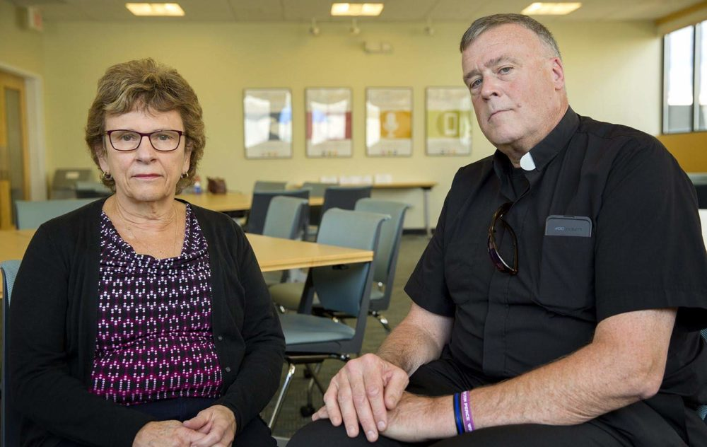 Barbara Thorp and Father John Connolly helped coordinate the Archdiocese of Boston's response to clergy sex abuse. (Robin Lubbock/WBUR)