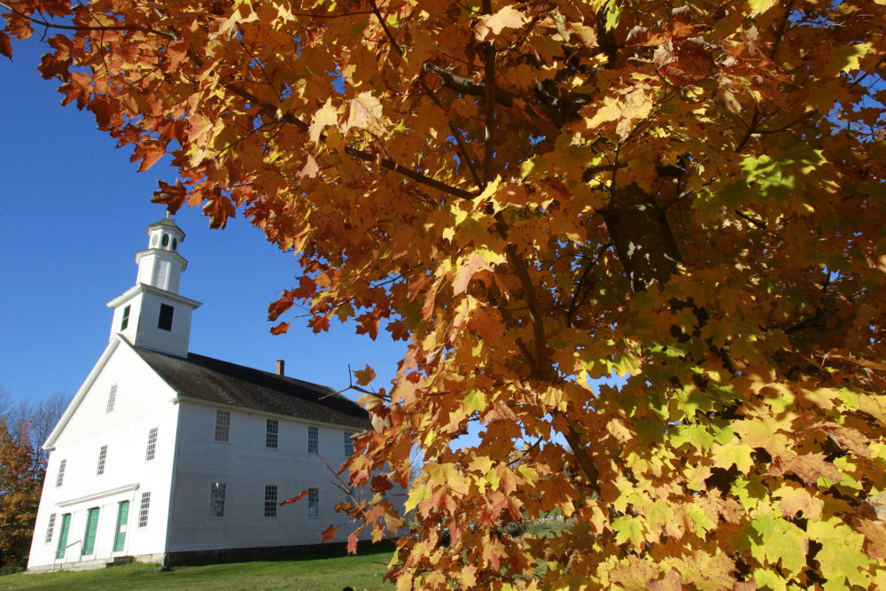 Fall leaves hang on a tree near the Old West Church on Oct. 9, 2013, in Calais, Vt. (Toby Talbot/AP)