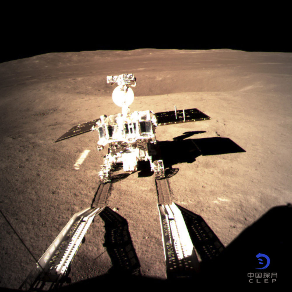 In this photo provided on Thursday, Jan. 3, 2019, by China National Space Administration via Xinhua News Agency, Yutu-2, China's lunar rover, leaves wheel marks after leaving the lander that touched down on the surface of the far side of the moon. (China National Space Administration/Xinhua News Agency via AP)