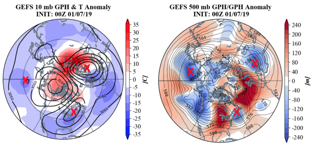 """The polar vortex has split into three parts — marked in this graphic with a red """"X"""" — and it could bring extreme winter weather to parts of the East Coast and Europe. (Courtesy of AER)"""