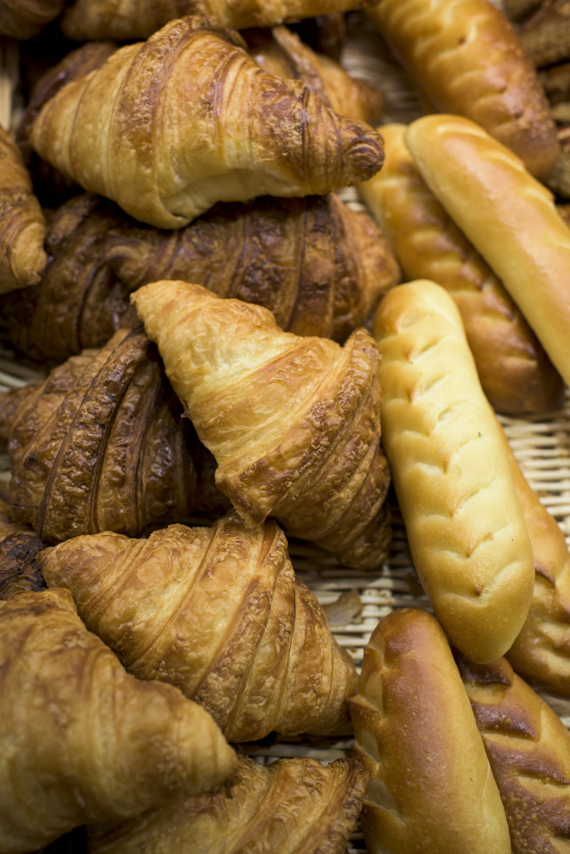 Croissants and other pastries are seen at Laurent Duchêne Boutique Paris 13ème on Nov. 12, 2018 in Paris. (Pete Kiehart for Here & Now)