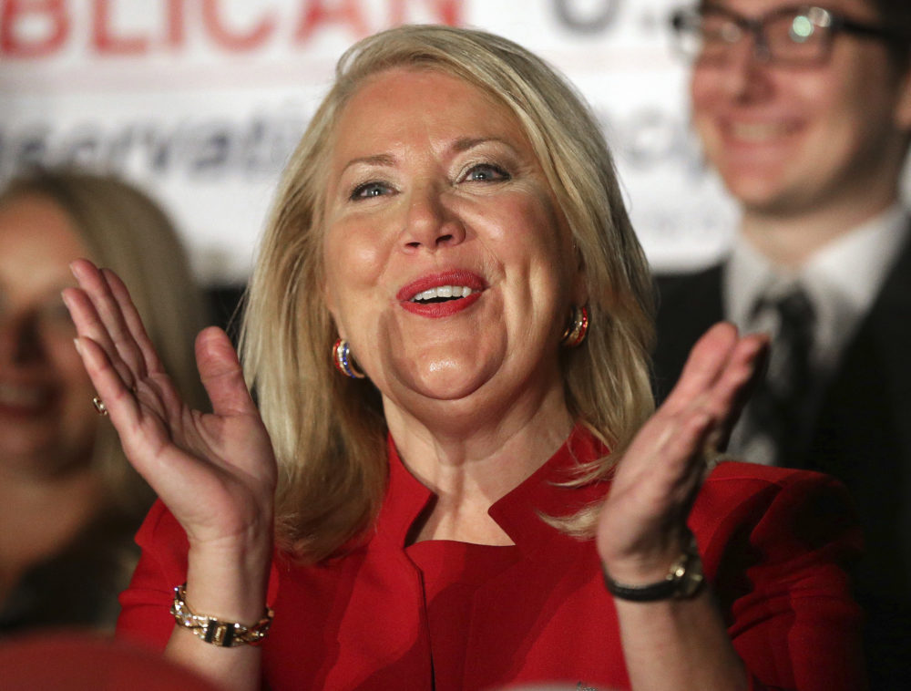 Republican U.S. Congressional candidate Debbie Lesko celebrates her win at her home Tuesday, April 24, 2018, in Peoria, Ariz. (Matt York/AP)