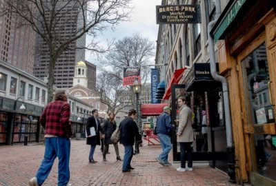 People entering Durgin-Park in the Faneuil Hall Marketplace. (Robin Lubbock/WBUR)