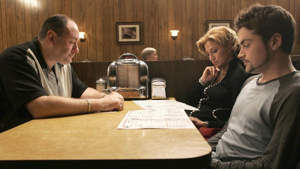 "James Gandolfini, Edie Falco and Robert Iler in Season 6 of ""The Sopranos."" (Courtesy Everett Collection/HBO)"