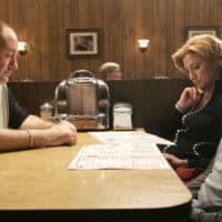 "James Gandolfini, Edie Falco and Robert Iler in Season 6 of ""The Sopranos."" (Courtesy Everett Collection/HBO)"