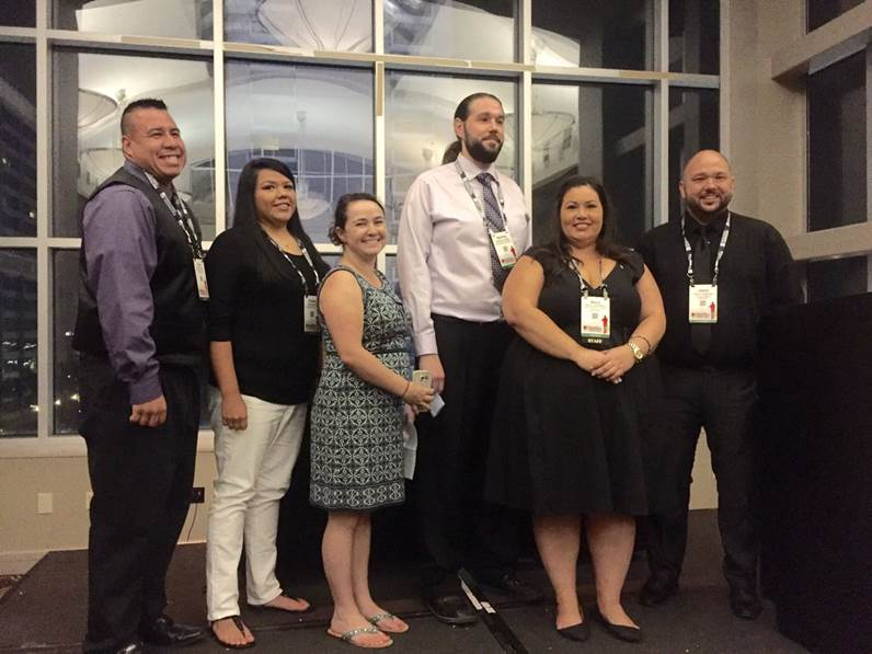 The Mvskoke Media staff after winning the NAJA Elias Boudinot Free Press Award at the 2016 NAJA conference in New Orleans. (Courtesy of Sterling Cosper)