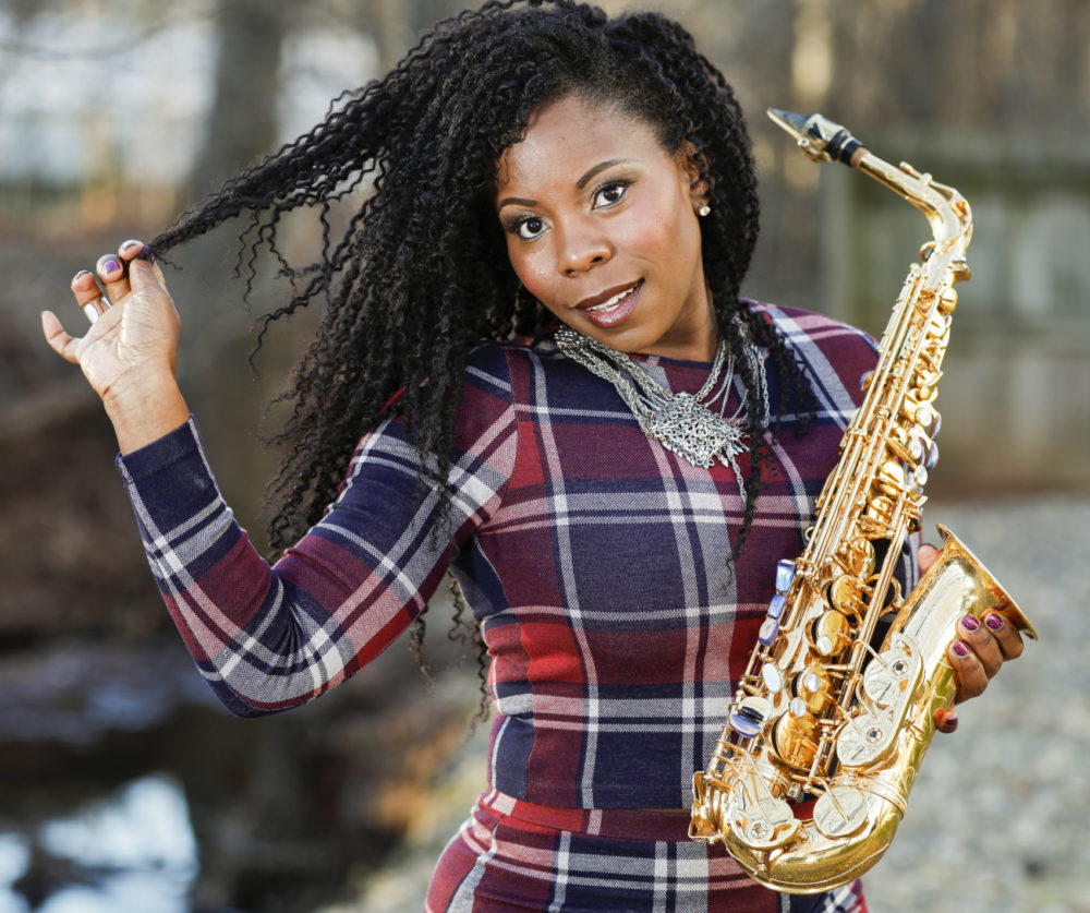 Saxophonist Tia Fuller teaches at Berklee College of Music and famously toured with Beyonce as part of her all-female band. She is nominated for her first Grammy in the best instrumental jazz album category. (Brian Ach/Invision/AP)