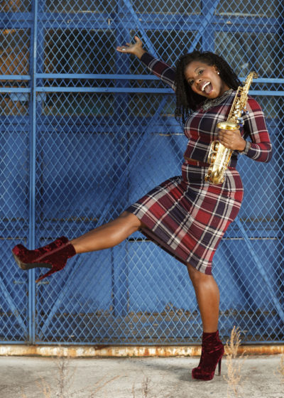 Saxophonist Tia Fuller poses in Piscataway, New Jersey. (Brian Ach/Invision/AP)