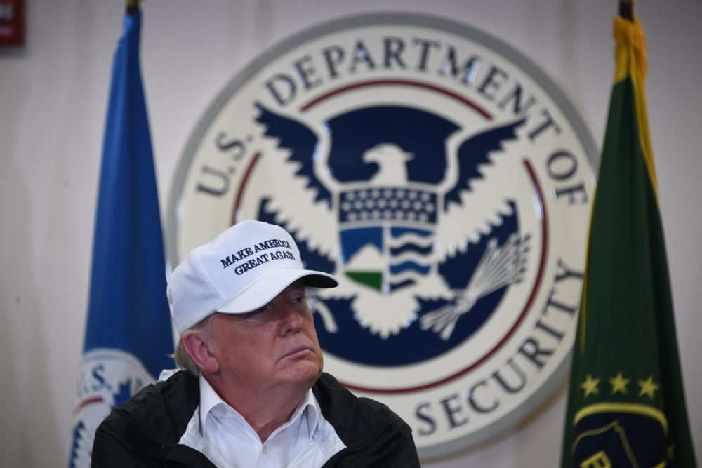 President Trump speaks during his visit to U.S. Border Patrol McAllen Station in McAllen, Texas, on Jan. 10, 2019. (Jim Watson/AFP/Getty Images)